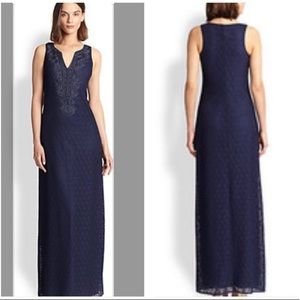 Lily Pulitzer Westport Navy Knit Lace Maxi Dress